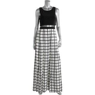 Aqua Womens Juniors Pleated Checkered Evening Dress
