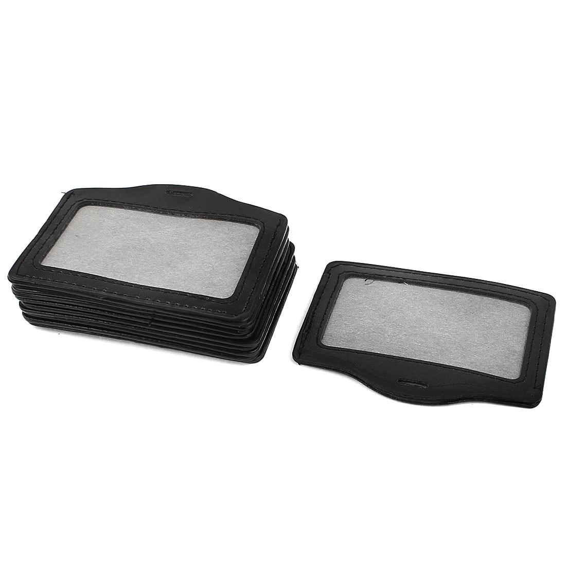 10Pcs Business ID Card Badge Holder Genuine leather Horizontal or Vertical Black