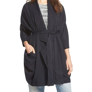 Maisie NEW Navy Blue Women's Size Small S Belted Pocket Wrap Coat