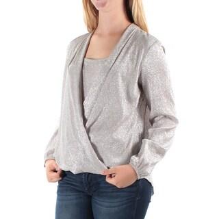 Womens Silver Long Sleeve Jewel Neck Wear To Work Faux Wrap Top Size 12