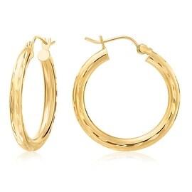 "MCS JEWELRY INC 10 KARAT YELLOW GOLD HOOP EARRINGS WITH DESIGN (1.0"" DIAMETER)"