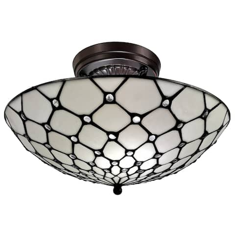 """Tiffany Style Ceiling Fixture Lamp Jeweled 17"""" Wide Stained Glass White Bedroom Hallway Gift AM030CL17B Amora Lighting"""