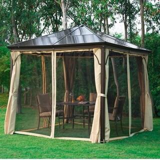 Outsunny 10'x10' Gazebo Canopy Patio Hard Roof Shelter Curtains Garden Backyard