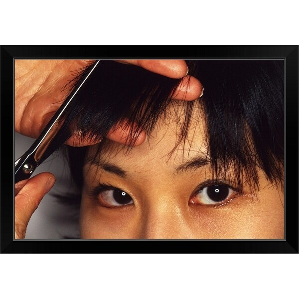 """Woman having bangs cut"" Black Framed Print"
