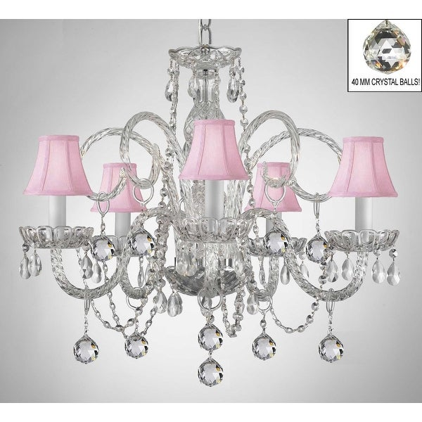 Swarovski Crystal Trimmed Crystal Chandelier Lighting With Pink Shades & Crystal Balls