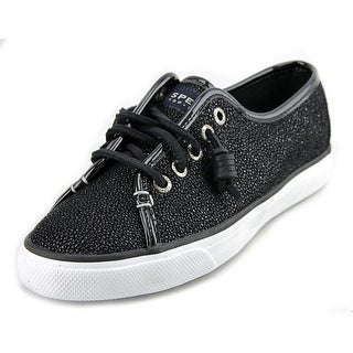 Sperry Top Sider Seacoast Women Leather Black Fashion Sneakers