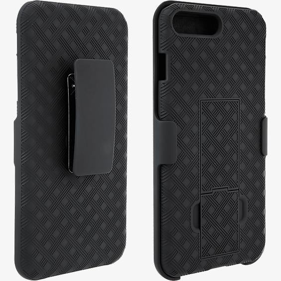 Unlimited Cellular Rubberized Kickstand Holster for Apple iPhone 7, 6s, 6 (Black