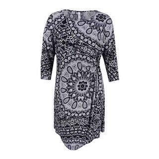 NY Collection Women's Plus Size Printed Shift Dress (3X, Night Caster) - night caster - 3x