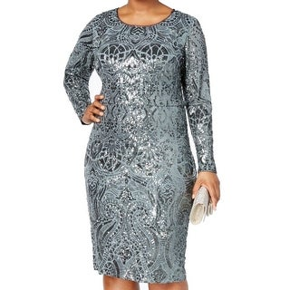 Betsy & Adam Silver Womens Size 18W Plus Sequined Sheath Dress