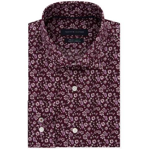 Tommy Hilfiger Mens Floral Button Up Dress Shirt