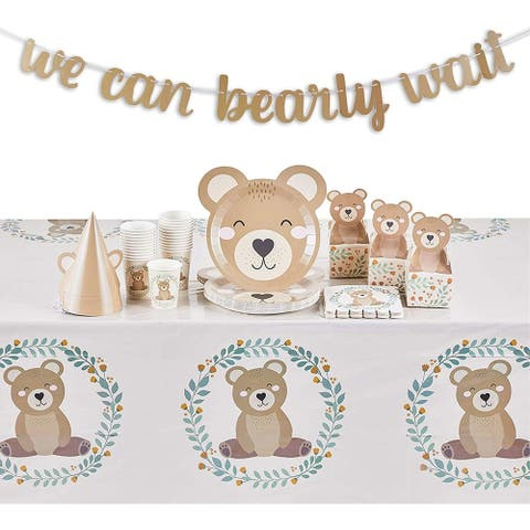 Baby Shower Decorations for Boy, We Can Bear-ly Wait (Serves 24, 111 Pieces)