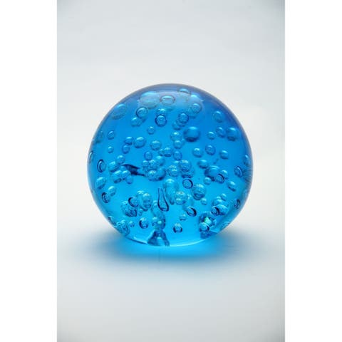 """5.5"""" Blue Round Bubbled Hand Blown Glass Paperweight Ball"""