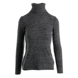 Aqua Womens Cashmere Ribbed Trim Turtleneck Sweater