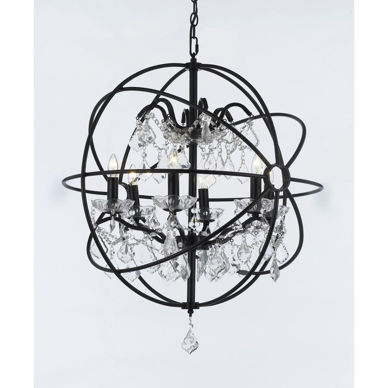 Spherical Orb Chandelier Wrought Iron
