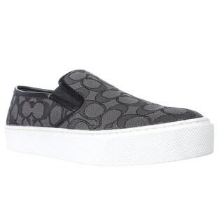 Coach Cameron Logo Fashion Sneakers, Smoke Coal/Black