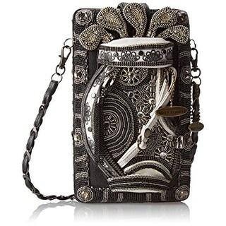 Mary Frances Womens On Par Leather Embellished Evening Handbag - black multi - Small