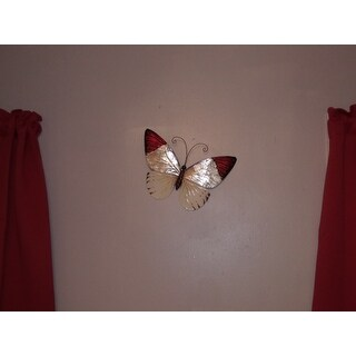 Handmade Red Tipped Butterfly Metal Art