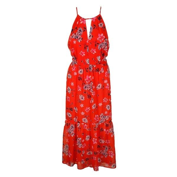 08ca4cc1d95d Vince Camuto Orange Sleeveless Floral-Print Chiffon High-Low Maxi Dress 14