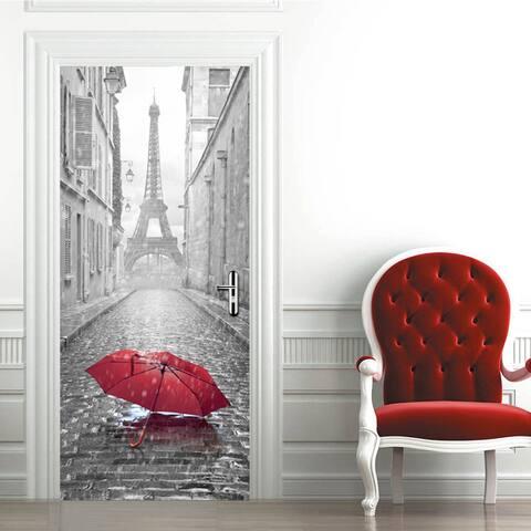 Walplus Eiffel Tower Umbrella Peel and Stick Door Sticker Home Decor