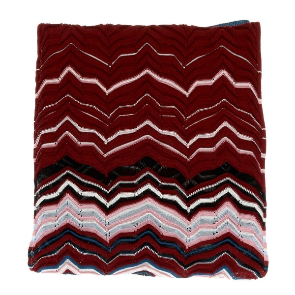 Missoni Teal/Burgundy Long Fine Zigzag Scarf - 16-71. Opens flyout.