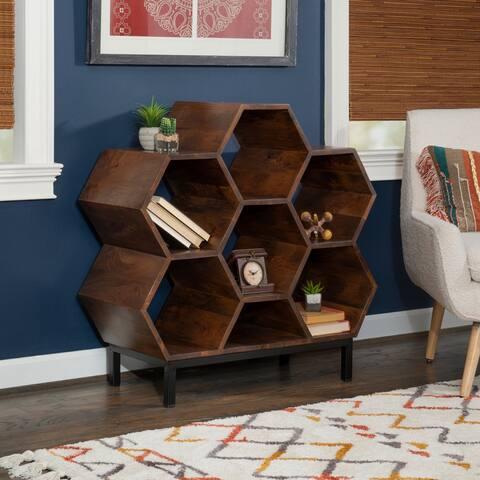 Celia Solid Wood Geometric Bookshelf
