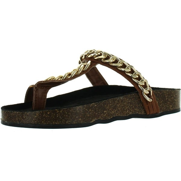 Wild Rose Womens Candice-06 Toe Strap Chained Slip On Footbed Flat Platform Sandals - camel pu