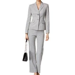 Le Suit NEW Gray Marble Women's Size 4 Two-Button Pant Suit Set