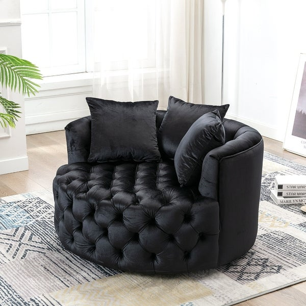 Upholstered Tufted Round Swivel Barrel Chair. Opens flyout.