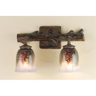 """Meyda Tiffany 49521 2 Light 16"""" Wide Bathroom Fixture from the Pinecones Collection"""