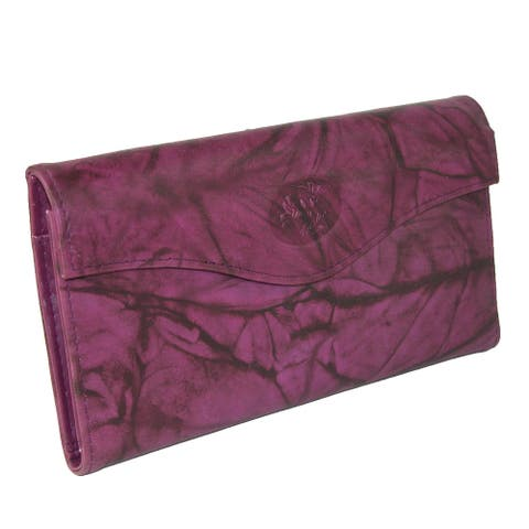 Buxton Women's Leather Long Bifold Organizer Wallet with Floral Emboss