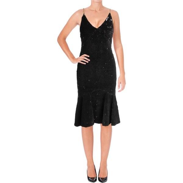 Vera Wang Womens Slip Dress Velvet Sequined