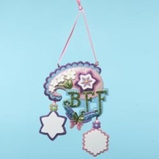 """Tween Christmas """"BFF"""" Floral & Butterfly Ornament to Personalize 4.5"""""""