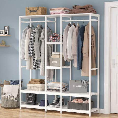 Free-standing Closet Organizer Garment Rack with Shelf and Hanging Bar