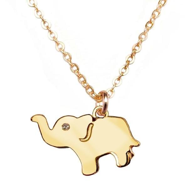 """Julieta Jewelry CZ Elephant Gold Charm 16"""" Necklace"""