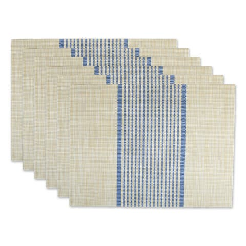 DII French Blue Middle Stripe PVC Woven Placemat