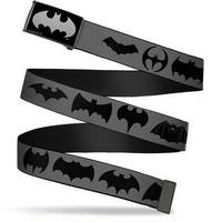 Batman Reverse Brushed Silver Cam Bat Logo Transitions Gray Black Web Belt