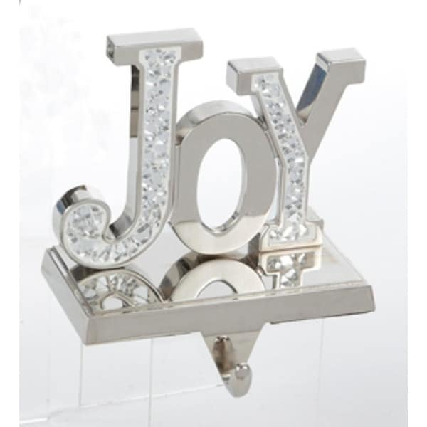 """4.75"""" Mirrored """"Joy"""" Inspirational Hand Crafted Pewter Christmas Stocking Holder - silver"""