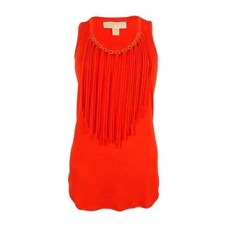 Michael Kors Women's Sleeveless Grommet Fringe Top