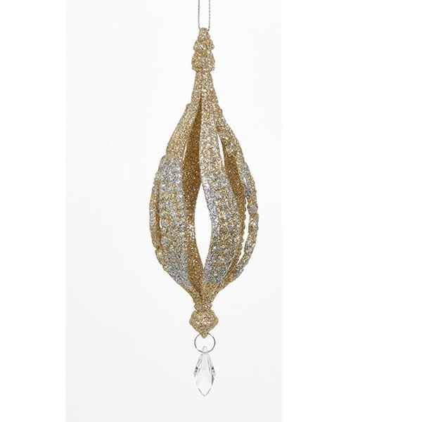 """6.5"""" Rich Elegance Decorative Gold and Silver Glitter finial Christmas Ornament"""