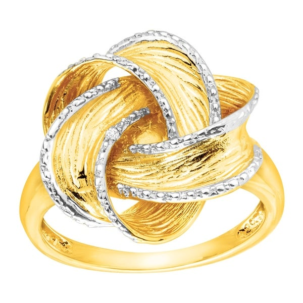 Bold Knot Ring With Diamonds in Gold-Plated Sterling Silver