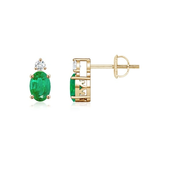 76dbb38dead54 Shop Angara 5x3mm Basket Set Oval Emerald Stud Earrings with Diamond ...