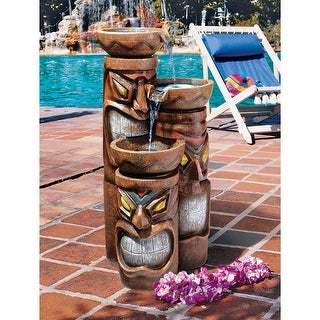 Cascading Aloha Tiki Three-Bowl Garden Fountain DESIGN TOSCANO Hawaii Hawaiian