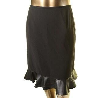 Tahari ASL Womens Plus Nina Below Knee Faux Leather Trim A-Line Skirt