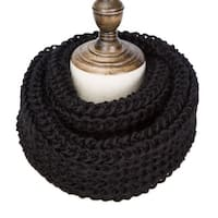 Womens Thick Knit Winter Infinity Circle Loop Scarf - Black