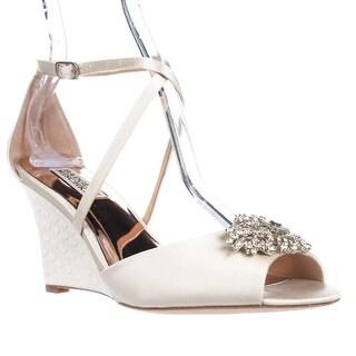 Badgley Mischka Abigail Dress Wedge Sandals, Ivory