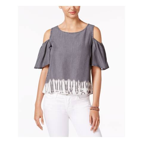 BUFFALO Womens Gray Kimono Sleeve Jewel Neck Top Size M