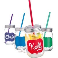 Palais Mason Jar Tumbler Mug with Stainless Steel Lid and Decorative Straws - 15 Ounces - Set of 4 (Colored Chalk It Up W/Chalk