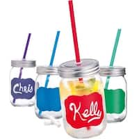 Palais Mason Jar Tumbler Mug with Stainless Steel Lid and Decorative Straws - 15 Ounces - Set of 4