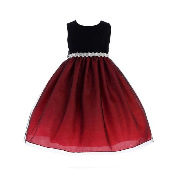 444a72c3e52 Shop Crayon Kids Little Girls Red Black Bejeweled Waist Flower Girl Dress - Free  Shipping Today - Overstock - 23140826