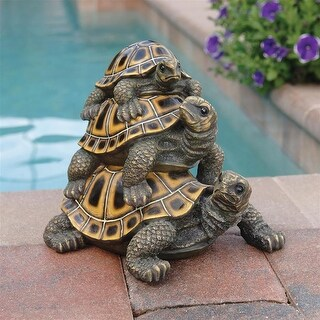 Design Toscano Threeu0027s A Crowd Stacked Turtle Statue